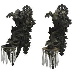 Mid-19th Century Pair of Italian Bronze Gothic Candle Sconces