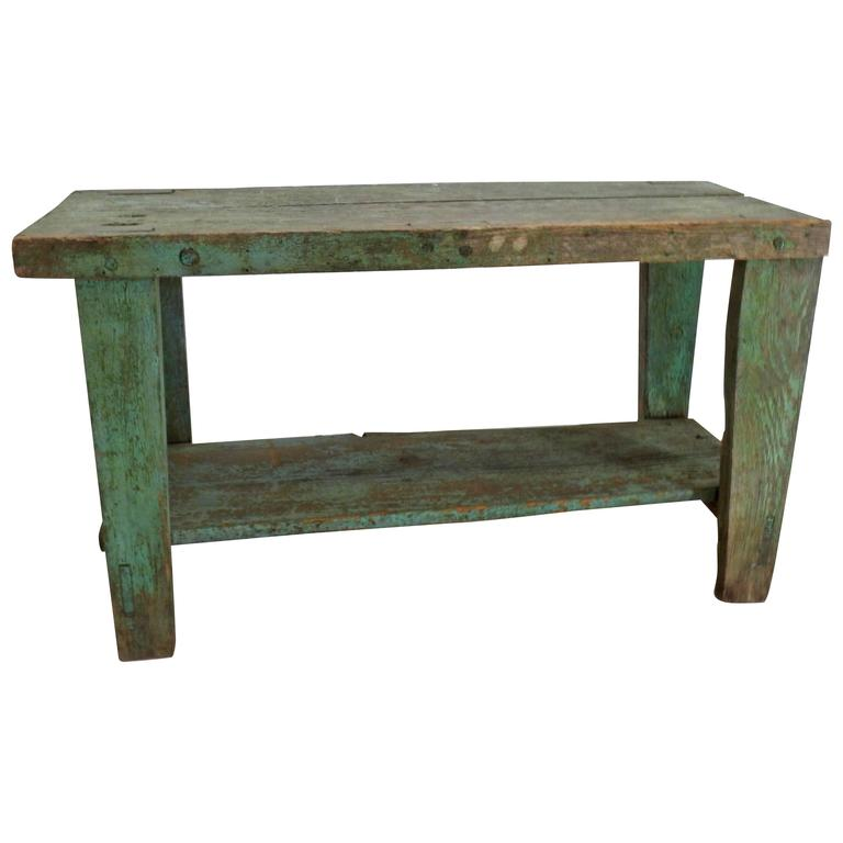19th Century Country French Primitive Turquoise Wooden Bench