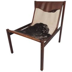 Vintage Cowhide and Leather Italian Lounge Chair by Delgase Displays