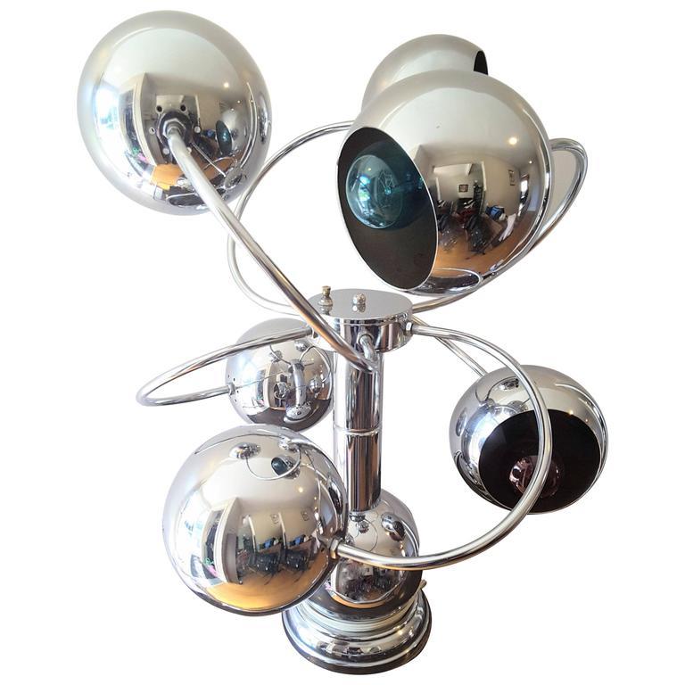 Atomic Chrome Six-Arm Table Lamp Mid-Century, 1960s-1970s