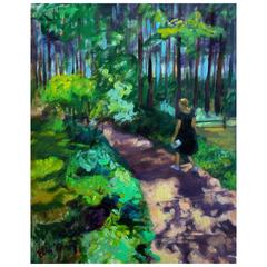 """""""A Walk in the Forest"""" Original Oil on Canvas Impressionist Painting Wall Art"""