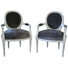 Louis XVI Style Painted and Upholstered Open Armchairs in Velvet