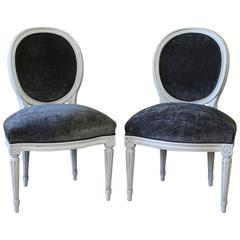 Velvet Louis XVI Style Painted and Upholstered Side Chairs