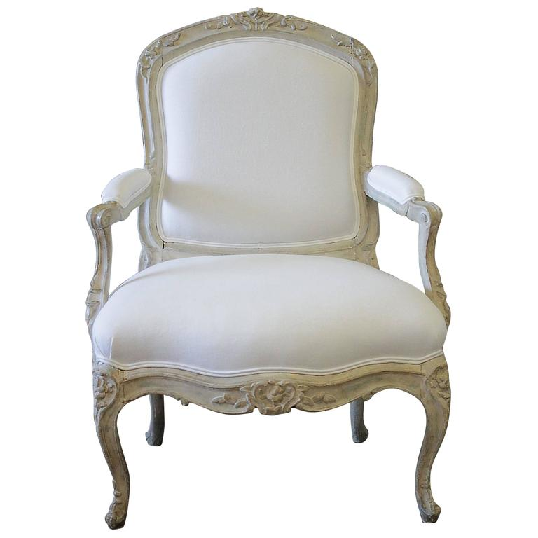 Antique louis xv style fauteuil painted and upholstered in belgian linen for - Fauteuil style louis xv ...