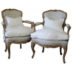 Pair of Louis XV Style Open Armchairs in Upholstered in Irish Linens