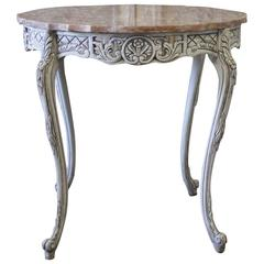 Vintage Louis XV Style Carved and Painted Side Table with Marble Top