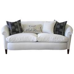 Vintage English Style Upholstered Sofa in Belgian Linen