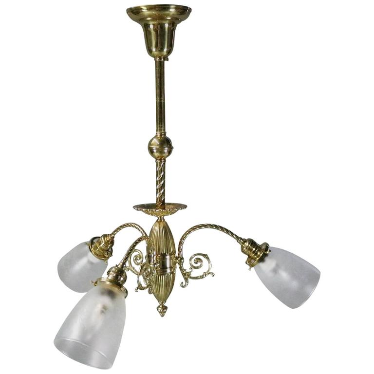Contemporary Italian Brass Three-Light Chandelier with Vienna Glass Shades