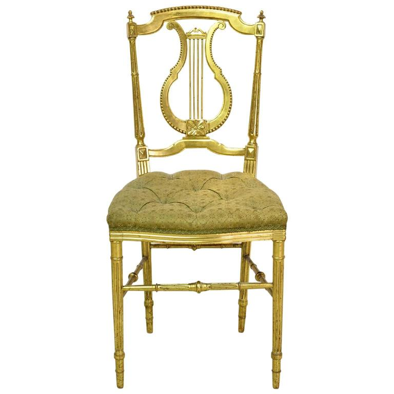 Terrific Gilded Louis Xvi Style Chair W Lyre Back And Upholstered Ncnpc Chair Design For Home Ncnpcorg