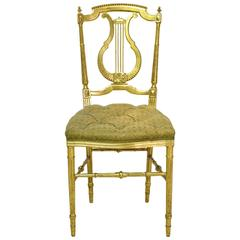 Gilded Louis XVI Style Chair w/ Lyre-Back & Upholstered Seat, France, ca. 1910