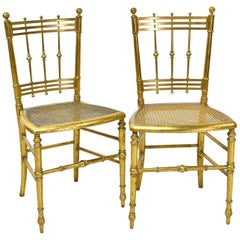 Pair of Early 20th Century French Belle Époque Salon/ Dining Chairs in Giltwood