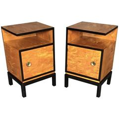 Pair of Scandinavian Birch and Black Lacquered Side Tables, 1940s