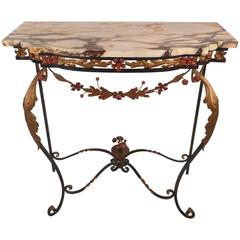 Vintage Cast Iron and Marble Demilune Hall Table