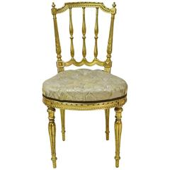 Belle Époque French Louis XVI Style Gilded Salon Chair w/ Upholstered Seat