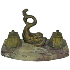 Inkwell by Franjou with Dolphin Fish on marble , France , Art Deco