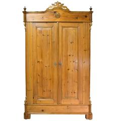 Superbe 19th Century Louis Philippe Armoire In European Pine With Carved Bonnet, C.  1860