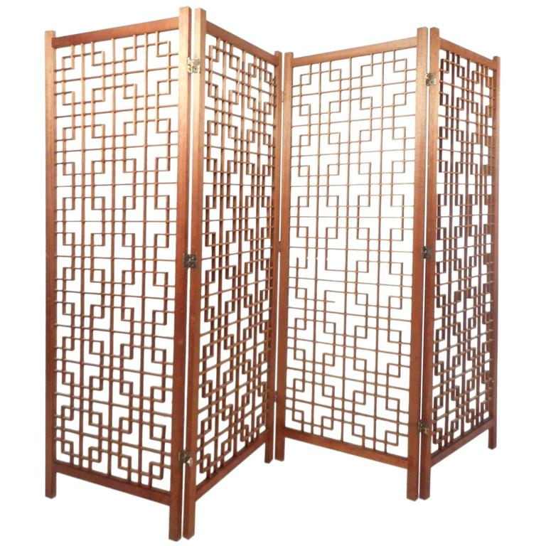 Mid-Century Modern Teak Four-Panel Lattice Folding Wall Divider For Sale