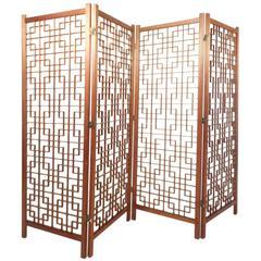 Mid-Century Modern Teak Four-Panel Lattice Folding Wall Divider