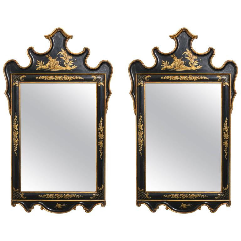 Pair of Chinoiserie Wood Mirrors from Italy