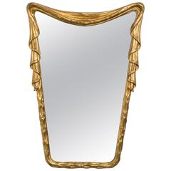 1940s Hollywood Regency Carved Wood Draped Mirror from Italy