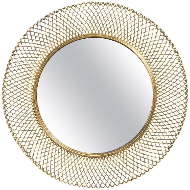 1960s German Brass Woven Round  Mirror
