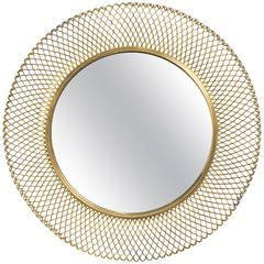 1960s German Brass Woven Round  Mirror