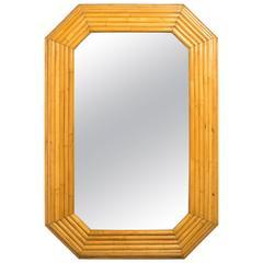 1970s Large Rattan  Octagonal Mirror