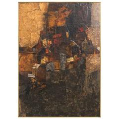 1960s Abstract Oil  On Board By Fischer Entitled Black Hill