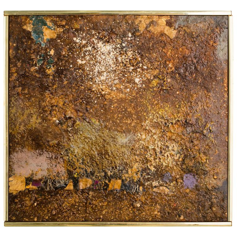 1960s Brown Abstract Oil Painting By Fischer For