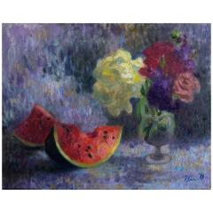 """Still Life with Watermelon and Flowers"" Original Oil on Canvas Painting, 2017"