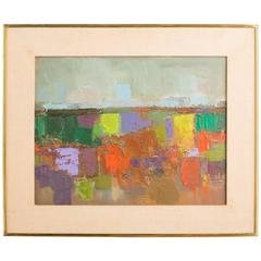 1960s Colorful Abstract Oil  Painting On Canvas