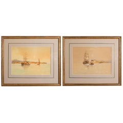 Pair of Turn of the Century Ship Watercolors Signed Davis