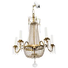 French  Brass Beaded Chandelier