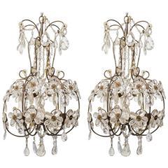 Pair of 1960s Italian Crystal Floral Chandeliers