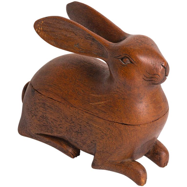 S french carved wood rabbit box at stdibs