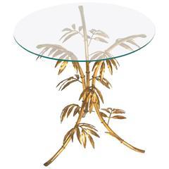 1960s Italian Faux Bamboo Gilt Metal Side Table