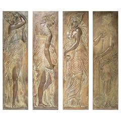Four Turn of the Century Bronze Plaques of Classical Water Maidens