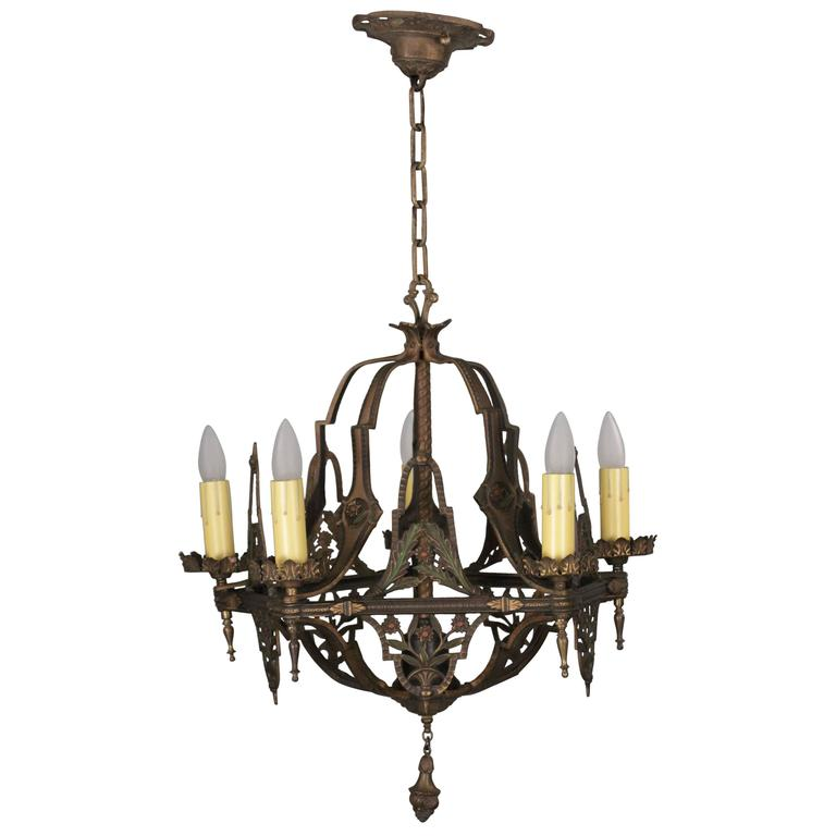 Items Similar To Lighting Rustic Chandelier Vintage 1920 S: Antique 1920s Chandelier With Floral Design And Original