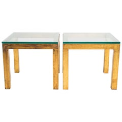 Pair of Gilt Metal Parsons Side Tables with Thick Glass Tops