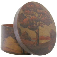 Rare Arts & Crafts Carved and Painted Pyrography Box by Arthur G. Grinnell