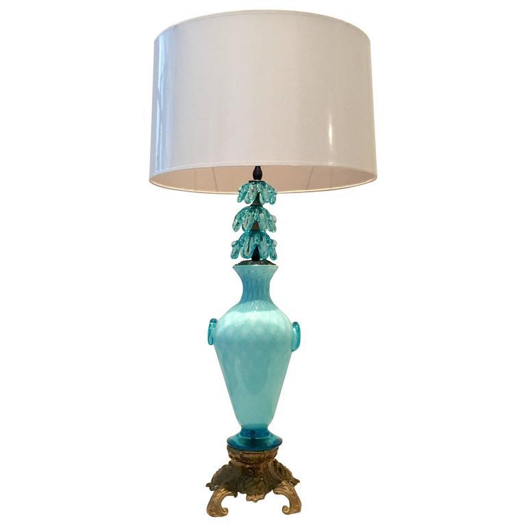 Italian Murano Glass and Bronze Mount Vase Lamp