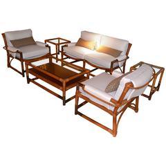 Six Pieces Bamboo and Brass Garden Set