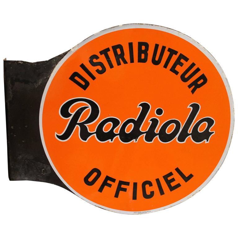 Vintage Double-Sided Enamel Sign Radiola, 1950s