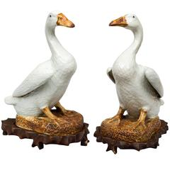 Pair of Chinese Porcelain Ducks on Stands