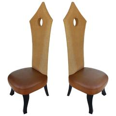 Hollywood Regency Tall Woven Raffia Back Chairs with Leather Seats, Pair