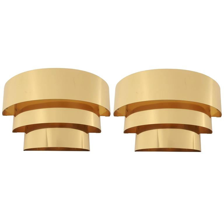 Pair of Cascade Brass-Plated Wall Sconces, 1980s, USA For Sale at 1stdibs