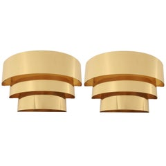 Pair of Cascade Brass-Plated Wall Sconces, 1980s, USA