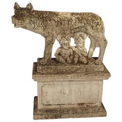Antique Capitoline Wolf of Rome, Carved Pietra Di Vicenza Stone, circa 1910