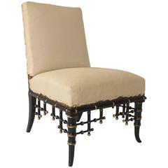 Napoleon III Ebonized and Parcel-Gilt Faux Bamboo Slipper Chair