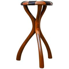 Black Walnut and Leather Stool by Dean Santner